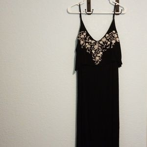 Black maxi dress with embroidered flowers